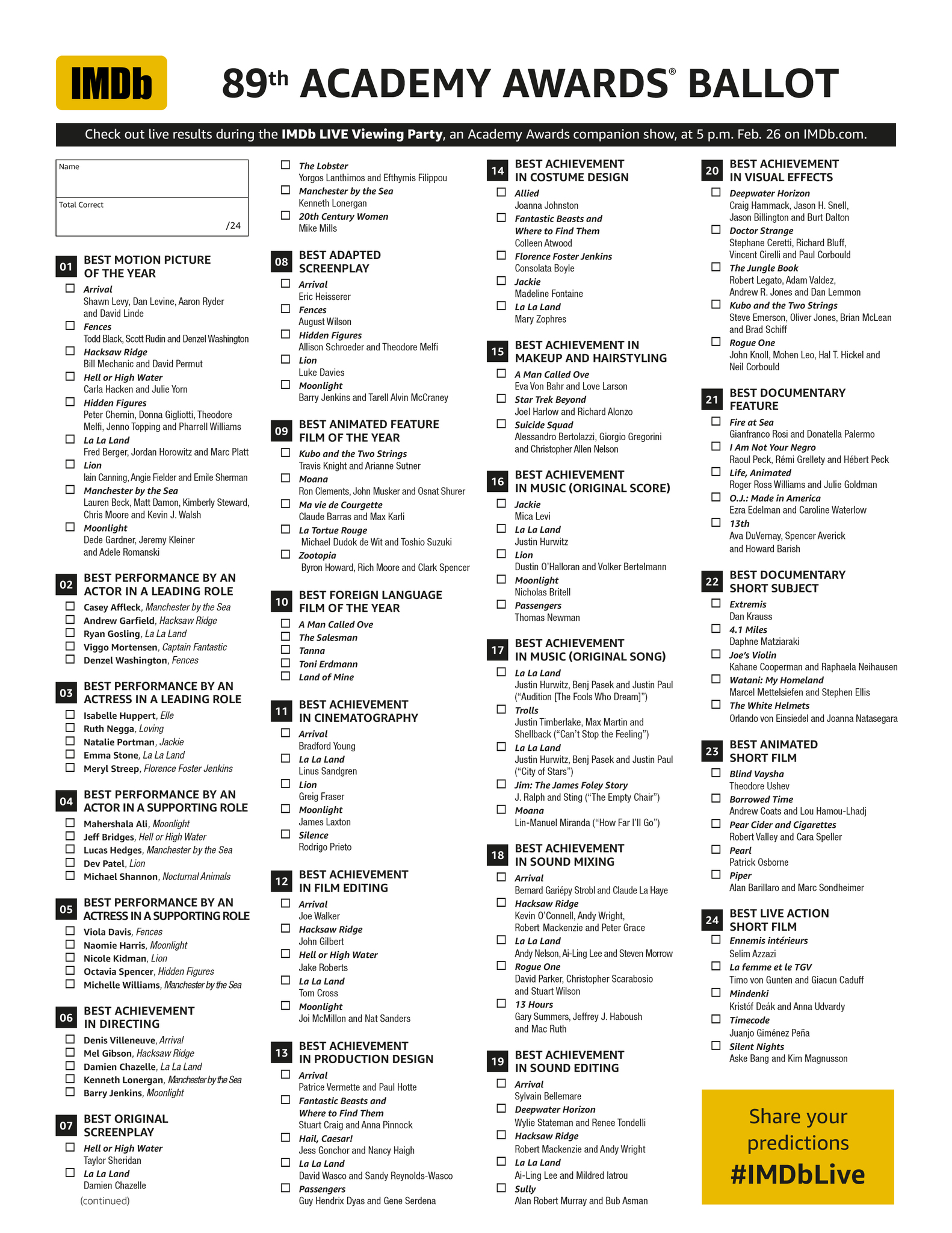 photo about Printable Ballot named Oscars Direct - IMDb