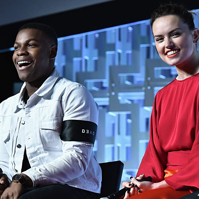 John Boyega and Daisy Ridley at an event for Star Wars: The Last Jedi (2017)