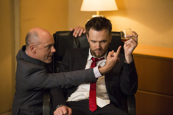 Joel McHale and Rob Corddry in Community (2009)