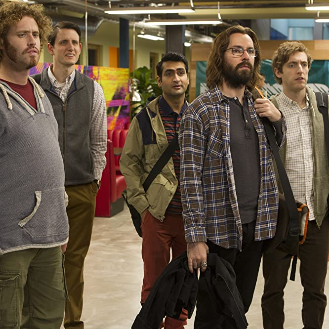 Martin Starr, Zach Woods, T.J. Miller, Thomas Middleditch, and Kumail Nanjiani in Silicon Valley (2014)