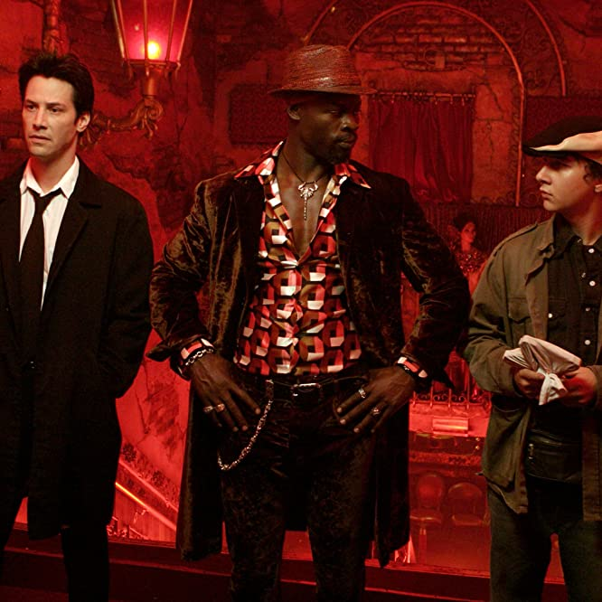Keanu Reeves, Djimon Hounsou, and Shia LaBeouf in Constantine (2005)