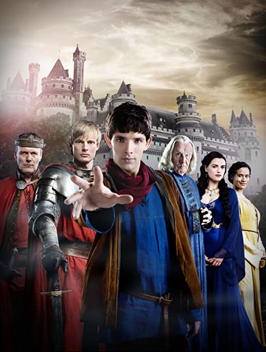 Anthony Head, Richard Wilson, Angel Coulby, Katie McGrath, Colin Morgan, and Bradley James in Merlin (2008)