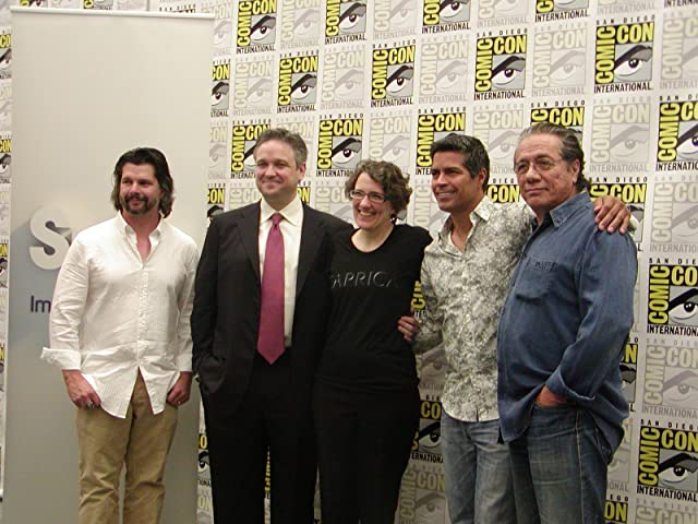 Edward James Olmos, Esai Morales, David Eick, Jane Espenson, and Ronald D. Moore at an event for Caprica (2009)