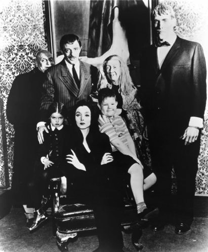 Jackie Coogan, John Astin, Marie Blake, Ted Cassidy, Carolyn Jones, Lisa Loring, and Ken Weatherwax in The Addams Family (1964)