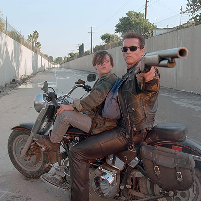 Arnold Schwarzenegger and Edward Furlong in Terminator 2: Judgment Day (1991)