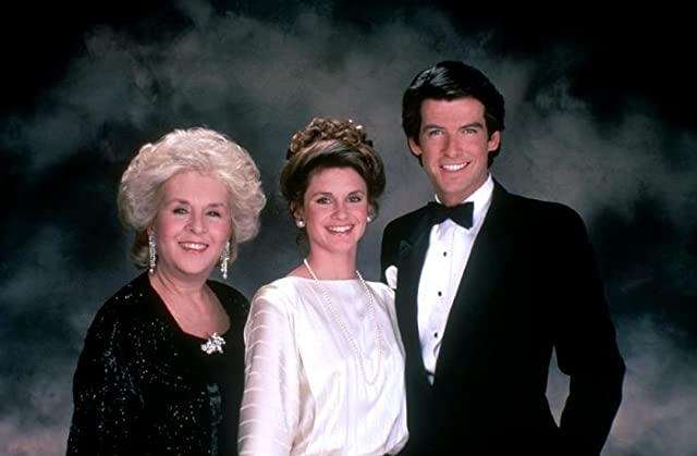 Pierce Brosnan, Stephanie Zimbalist, and Doris Roberts in Remington Steele (1982)