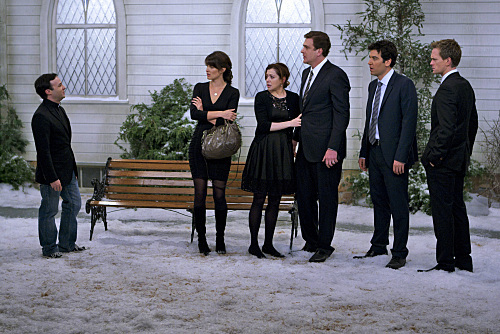 Neil Patrick Harris, Alyson Hannigan, Jason Segel, Danny Strong, Josh Radnor, and Cobie Smulders in How I Met Your Mother (2005)