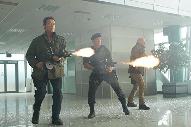Arnold Schwarzenegger, Sylvester Stallone, and Bruce Willis in The Expendables 2 (2012)