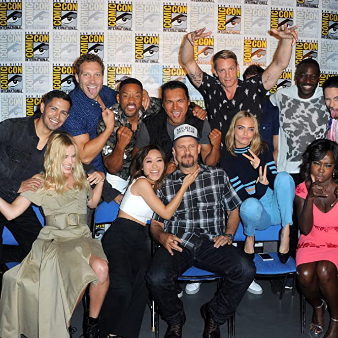 Will Smith, Jared Leto, Adewale Akinnuoye-Agbaje, David Ayer, Adam Beach, Viola Davis, Jay Hernandez, Joel Kinnaman, Jai Courtney, Margot Robbie, Cara Delevingne, and Karen Fukuhara at an event for Suicide Squad (2016)