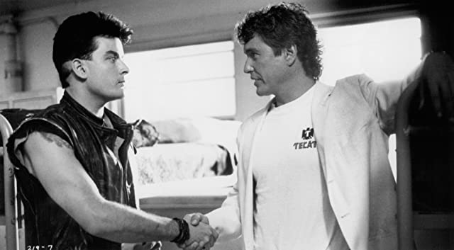 Charlie Sheen and Tom Berenger in Major League (1989)