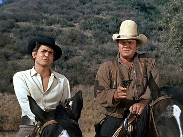 Michael Landon and Dan Blocker in Bonanza (1959)