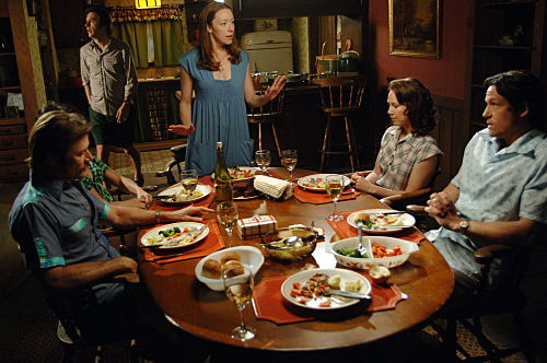 Josh Hopkins, Grant Show, Jack Davenport, Molly Parker, and Miriam Shor in Swingtown (2008)