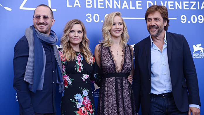 Michelle Pfeiffer, Javier Bardem, Darren Aronofsky, and Jennifer Lawrence at an event for Mother! (2017)