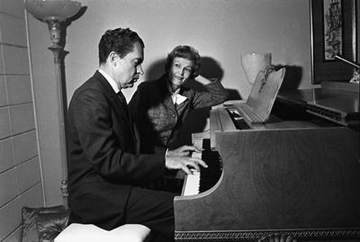 Richard Nixon and wife Pat at the piano circa 1960s