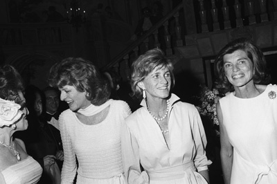 Eunice Kennedy Shriver with Patricia Kennedy Lawford and Jean Ann Kennedy Smith at a fashion show to benefit the Special Olympics