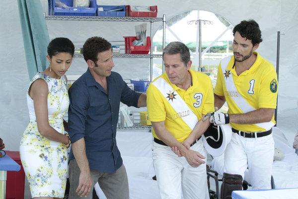 Gary Cole, Mark Feuerstein, Khotan Fernandez, and Reshma Shetty in Royal Pains (2009)