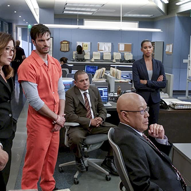 Mary McDonnell, G.W. Bailey, Michael Paul Chan, Raymond Cruz, Phillip P. Keene, Kearran Giovanni, and Daniel di Tomasso in Major Crimes (2012)