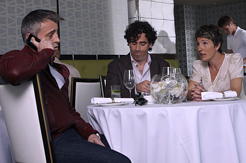 Matt LeBlanc, Tamsin Greig, and Stephen Mangan in Episodes (2011)