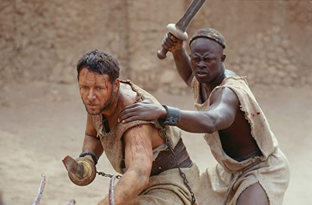 Russell Crowe and Djimon Hounsou in Gladiator (2000)
