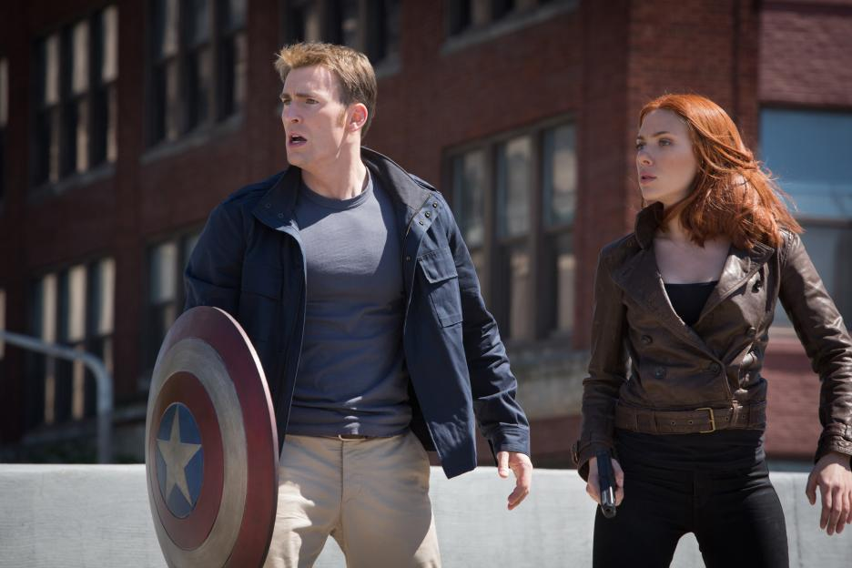 Chris Evans and Scarlett Johansson in Captain America: The Winter Soldier (2014)
