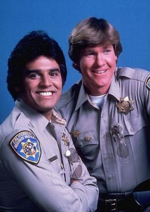 Erik Estrada and Larry Wilcox in CHiPs (1977)