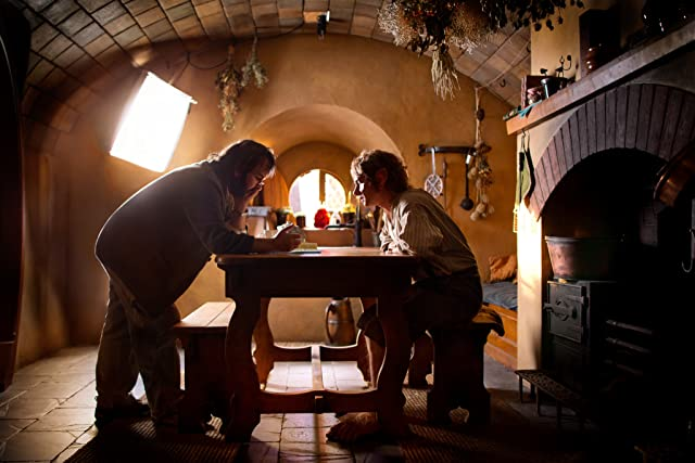 Peter Jackson and Martin Freeman in The Hobbit: An Unexpected Journey (2012)