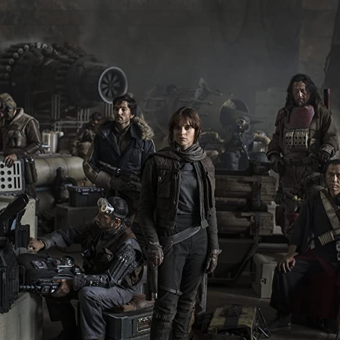 Wen Jiang, Felicity Jones, Diego Luna, Donnie Yen, and Riz Ahmed in Rogue One (2016)