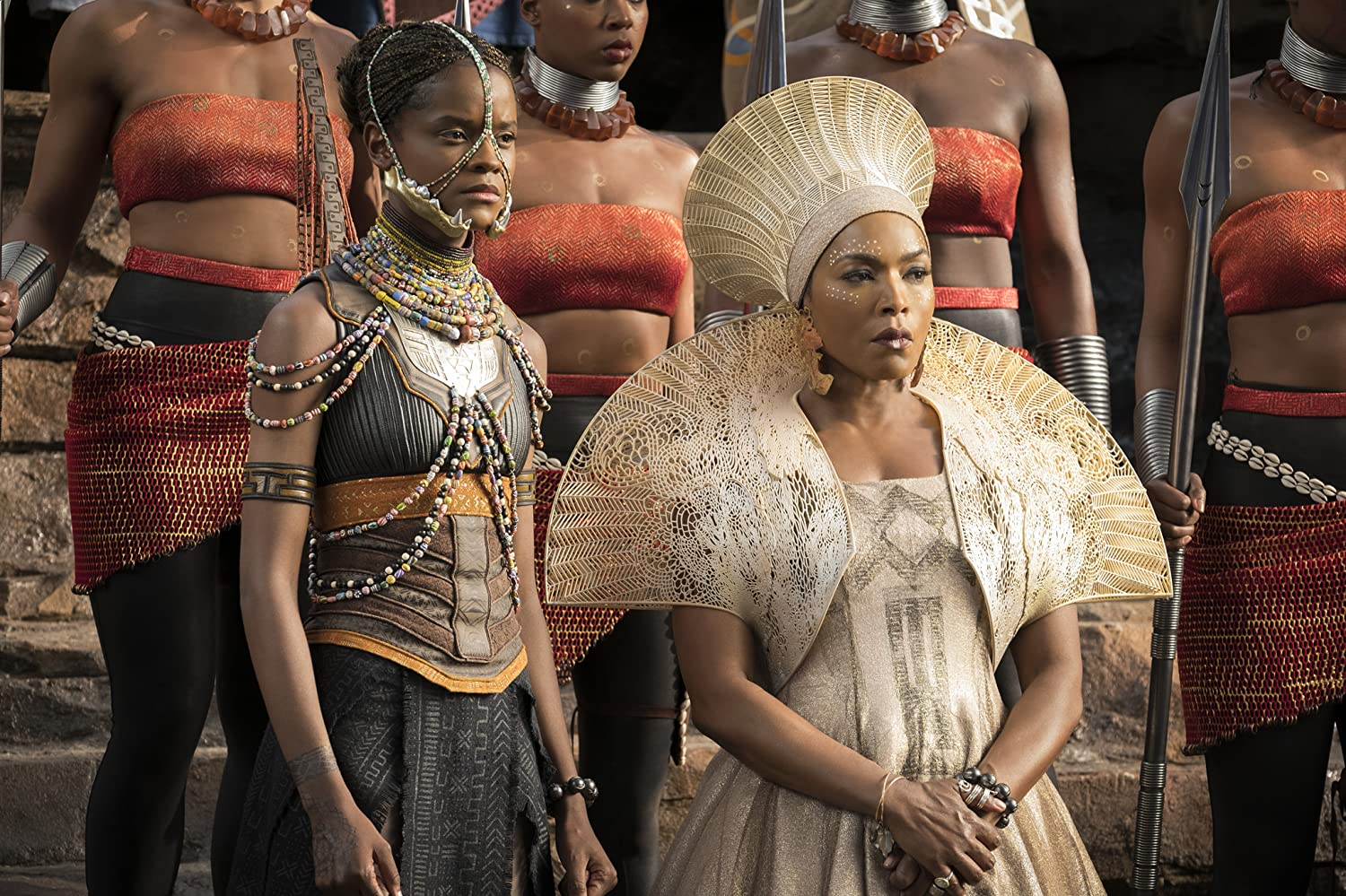 Angela Bassett and Letitia Wright in Black Panther (2018)