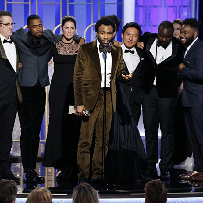 Paul Simms, Hiro Murai, Donald Glover, Brian Tyree Henry, Dianne McGunigle, and Lakeith Stanfield at an event for The 74th Golden Globe Awards (2017)