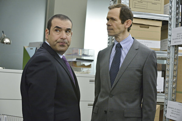 Adam Godley and Rick Hoffman in Suits (2011)