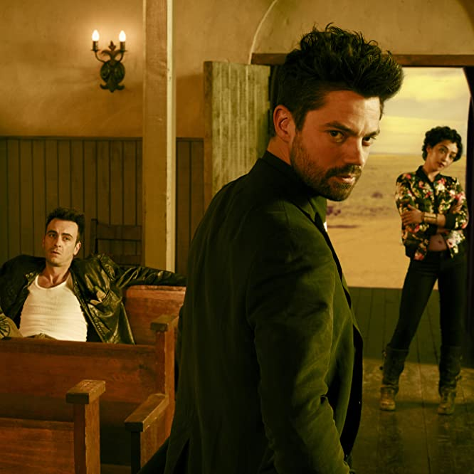 Joseph Gilgun, Dominic Cooper, and Ruth Negga in Preacher: Pilot (2016)