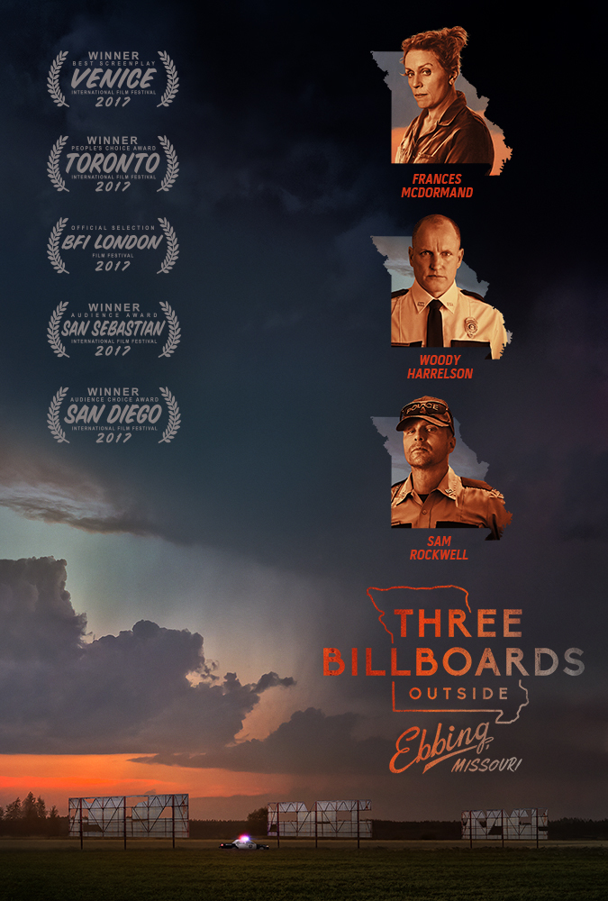movie poster for Three Billboards Outside Ebbing, Missouri