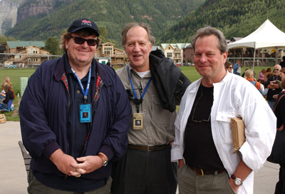 Terry Gilliam, Werner Herzog, and Michael Moore at Bowling for Columbine (2002)