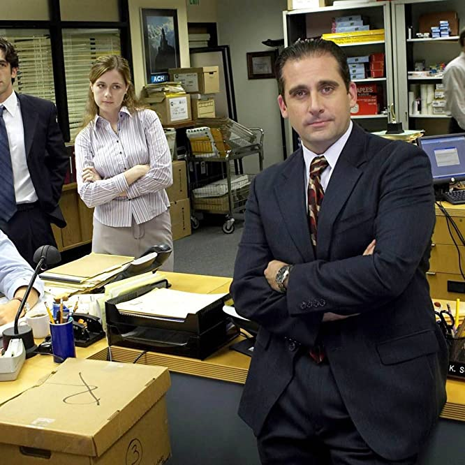 Steve Carell, Jenna Fischer, Rainn Wilson, John Krasinski, and B.J. Novak in The Office (2005)