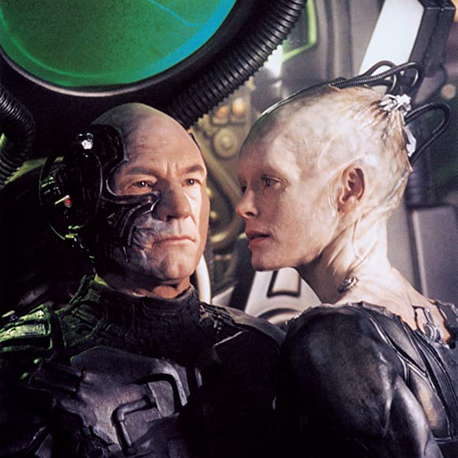Alice Krige and Patrick Stewart in First Contact (1996)