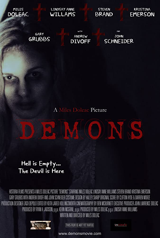 Steven Brand, Andrew Divoff, Gary Grubbs, John Schneider, Miles Doleac, Kristina Emerson, Jessica Harthcock, and Lindsay Anne Williams in Demons (2017)