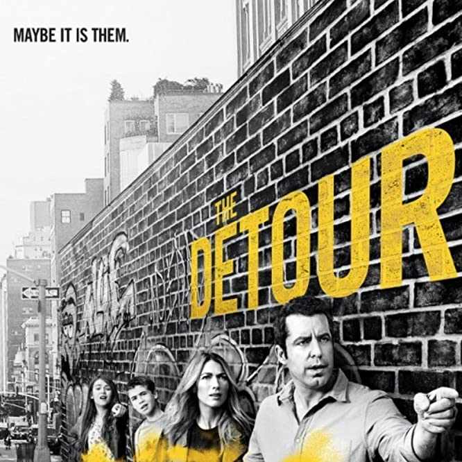 Jason Jones, Natalie Zea, Ashley Gerasimovich, and Liam Carroll in The Detour (2016)