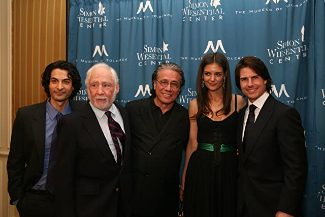 Left to right: Steven Schub, Robert M. Young, Edward James Olmos, Katie Holmes and Tom Cruise at the Simon Wiesenthal Center's Medal of Valor Honoree 2011 National Tribute Dinner.