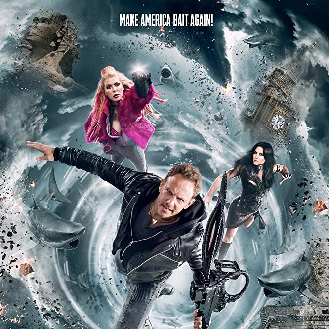 Tara Reid, Ian Ziering, and Cassandra Scerbo in Sharknado 5: Global Swarming (2017)