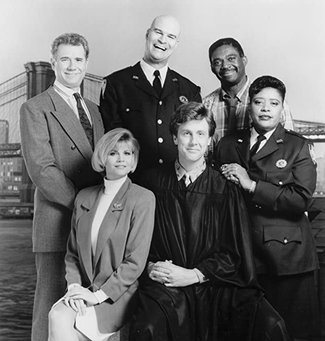 Harry Anderson, John Larroquette, Richard Moll, Markie Post, Charles Robinson, and Marsha Warfield in Night Court (1984)
