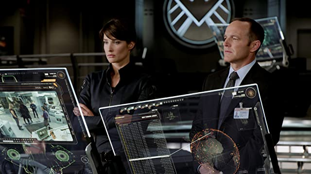 Clark Gregg and Cobie Smulders in The Avengers (2012)