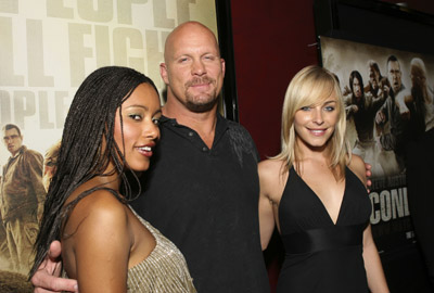 Steve Austin, Tory Mussett, and Emilia Burns at an event for The Condemned (2007)