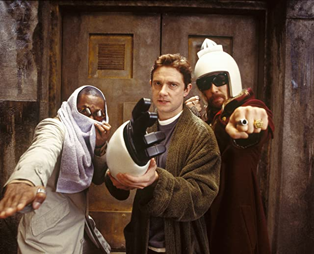 Sam Rockwell, Yasiin Bey, and Martin Freeman in The Hitchhiker's Guide to the Galaxy (2005)