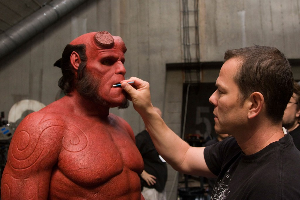 Ron Perlman and Mike Elizalde backstage shoot of Hellboy II.
