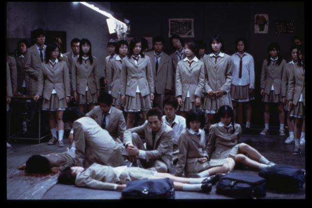 Tatsuya Fujiwara, Chiaki Kuriyama, Aki Maeda, Sayaka Kamiya, Takako Baba, Shin Kusaka, and Sayaka Ikeda in Battle Royale (2000)