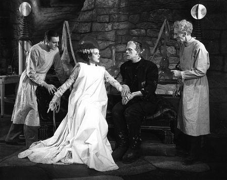 Boris Karloff, Elsa Lanchester, Colin Clive, Ernesst Thesiger, BRIDE OF FRANKENSTEIN, Universal, 1935, **I.V.