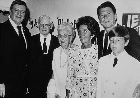 Ronald Reagan with John Wayne, parents Nelle and Jack, wife Nancy and son Ron C. 1972