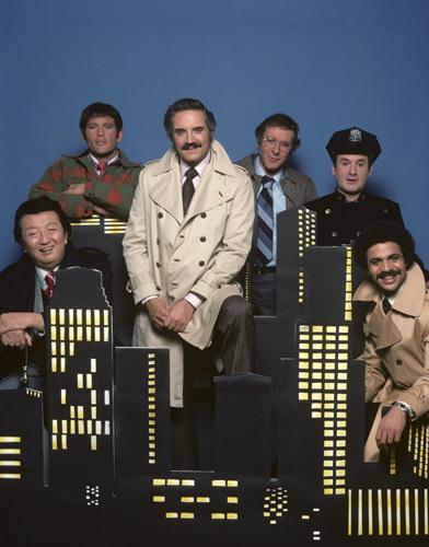 Ron Carey, Max Gail, Ron Glass, Steve Landesberg, Hal Linden, and Jack Soo in Barney Miller (1974)