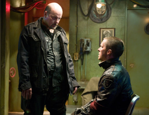 Christian Bale and Michael Ironside in Terminator Salvation (2009)