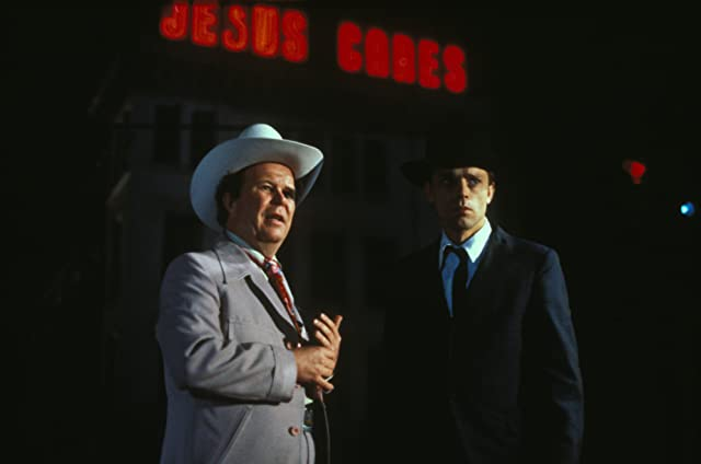 Brad Dourif and Ned Beatty in Wise Blood (1979)